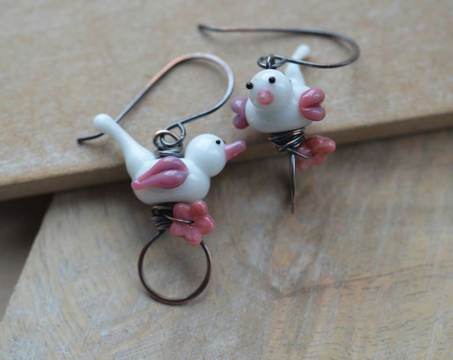 Handmade Copper Earrings with White and Pink Lampwork Glass Bird Beads