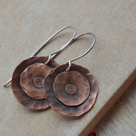 Handmade Copper Disc Earrings with Sterling Silver Earwires