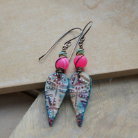 Earrings with Polymer Clay Dragonfly Charms, Pink Agate & Czech Beads