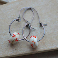 Handmade Copper and Cream Red Lampwork Glass Bead Earrings