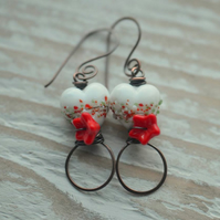 Lampwork Glass White, Red, Green Heart Bead and Copper Earrings