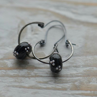 Handmade Sterling Silver Hoop Earrings with Black White Lampwork Beads