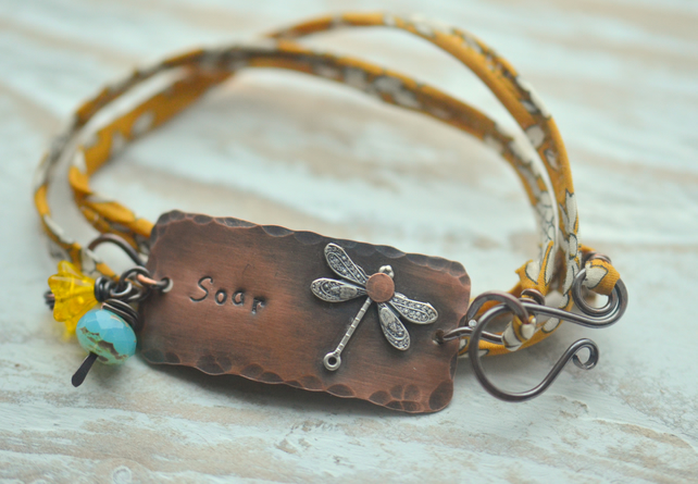 Wrap Bracelet with copper Soar handstamped bar and Liberty fabric ribbon