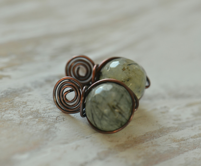 Copper Swirl Stud Earrings with Green Quartz Faceted Gemstone Beads