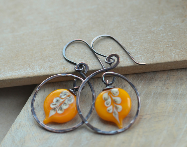 Copper Swirl Earrings with Orange Lampwork Leaf Beads
