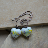 White, Yellow, Green, Purple Lampwork Heart Copper Earrings