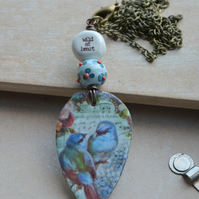 Wild at Heart Polymer Bird Pendant Necklace with Ceramic and Lampwork Beads