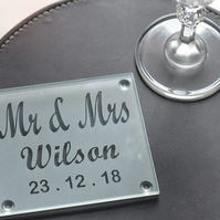 Personalised Etched Engraved Glass Wedding Coaster Pair