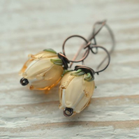 Ivory Lampwork Glass Flower Bud Copper Earrings