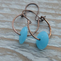 Handmade Copper Hoop Earrings with Turquoise Lampwork Glass Disc Beads