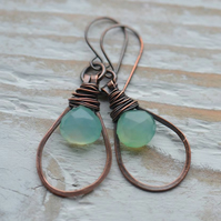 Handmade Copper Earrings with Aqua Chalcedony Briolette Gemstone Beads