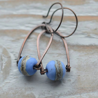 Handmade Copper Earrings with Blue Lampwork Glass Beads