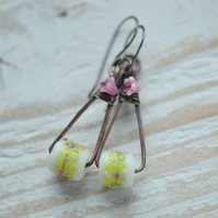 Copper Earrings with Lampwork Glass Beads