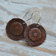 Copper Disc Earrings with Sterling Silver Earwires