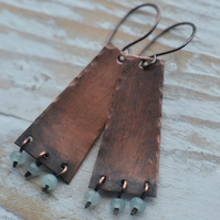 Handmade Copper Earrings with Aquamarine Faceted Beads