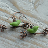 Handmade Copper Earrings with Green Lampwork Glass Bird Beads
