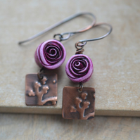 Handmade earrings with Copper Embossed Charms & Pink Polymer Rose Beads