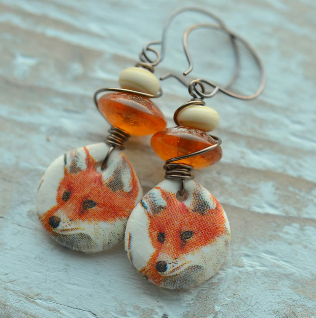 Handmade Earrings with Polymer Fox Charms & Lampwork Glass Beads