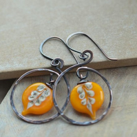 Handmade Copper Earrings with Orange Leaf Lampwork Beads