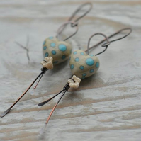 Handmade Copper Earrings with Cream Blue Turquoise Polka Dot Heart Beads