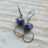 Copper Earrings with Purple Floral Lampwork Glass Beads
