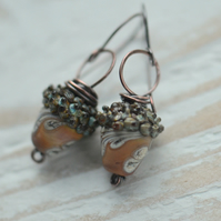 Handmade Copper Earrings with Lampwork Glass Acorn Beads