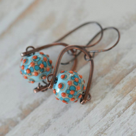 Copper Earrings with Red, Turquoise, Cream Lampwork Glass Beads