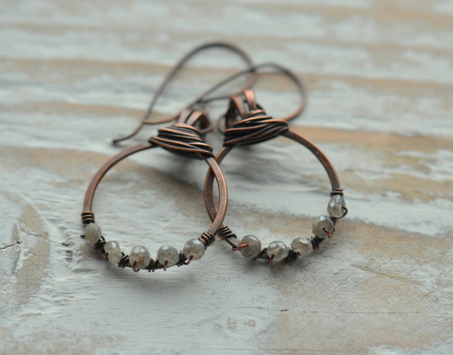 Handmade Copper Hoop Earrings with Labradorite Gemstone Beads