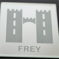 Game of Thrones House Frey Mirrored Glass Engraved Coaster