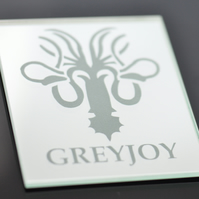 Game of Thrones House Greyjoy Mirrored Glass Sandblasted Engraved Coaster