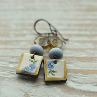 Earrings with floral ceramic, lampwork glass and Czech Beads