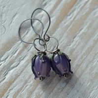 Sterling Silver Earrings with Purple Lampwork Glass Flower Buds