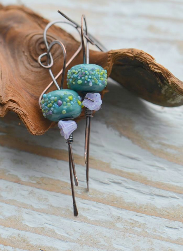 Copper Earrings with Lampwork Glass Beads and Czech Flowers