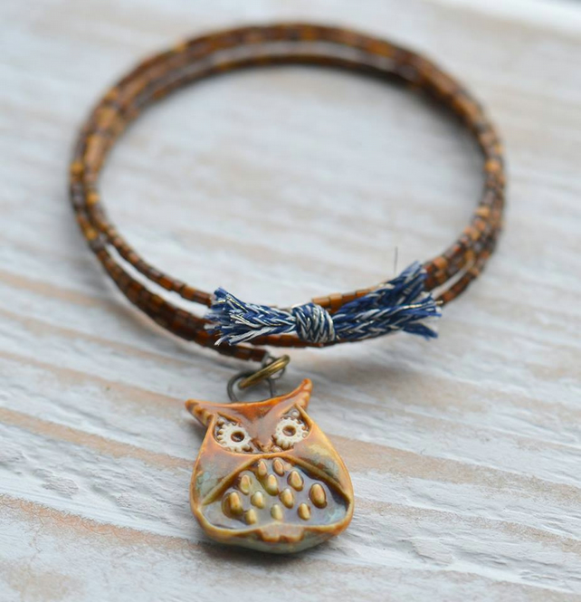 Memory Wire Bracelet Bangle with Seed Beads and Ceramic Owl