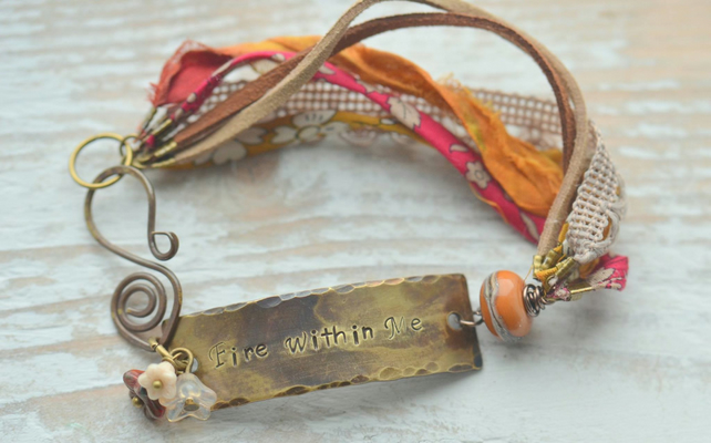 Bracelet with Fire Within Me Brass Bar, Ribbons, Lampwork Glass & Flowers