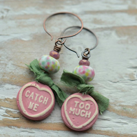 Ceramic Catch Me Too Much Love Heart & Lampwork Bead Earrings