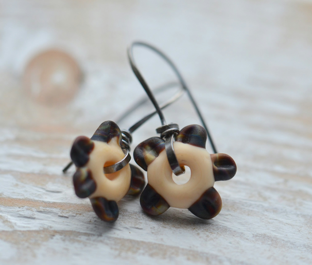 Sterling Silver Earrings with Lampwork Glass Flower Beads