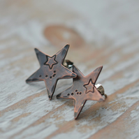 Copper Handstamped Star Stud Earrings