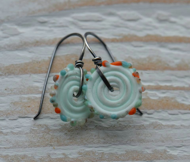Handmade Sterling Silver Earrings with Lampwork Glass Disc Beads