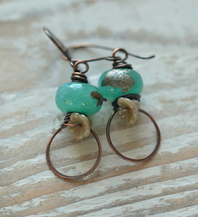 Handmade Copper Earrings with Aqua Lampwork Glass Beads and Czech flower