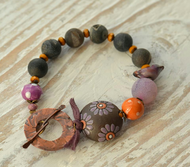 Handmade Bracelet with ceramic, Druzy gemstone, glass bird & copper toggle clasp