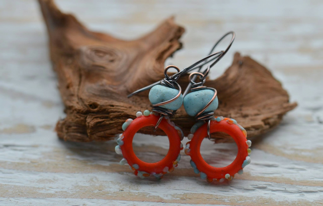 Handmade Copper Earrings with Lampwork Glass Beads