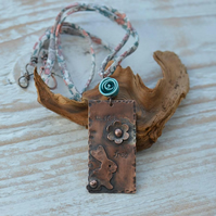 Handmade Copper Bunny Rabbit Pendant with Polymer Rose & Liberty Ribbon
