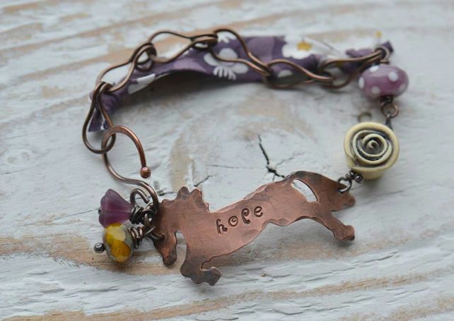 Handmade Bracelet with Hope Copper Horse, Lampwork & Polymer Beads and Ribbon