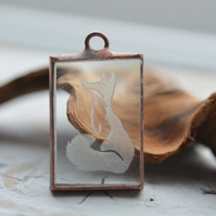 Handmade Sandblasted Engraved Glass Fox Pendant