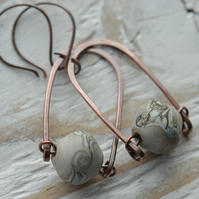 Handmade Copper and Grey Lampwork Glass Bead Earrings