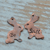 Handmade Copper Hand Stamped Bunny Rabbit Charms Be Still