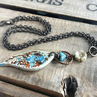 Artisan Ceramic Necklace. Blue Cream & Brown Teardrop Pendant. Unique Jewellery