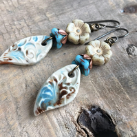 Blue, Cream & Brown Artisan Ceramic Earrings. Teardrop Earrings. Flower Earrings