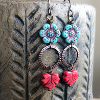 Long Bohemian Blue & Red Czech Glass Earrings. Glass Maple Leaf Earrings
